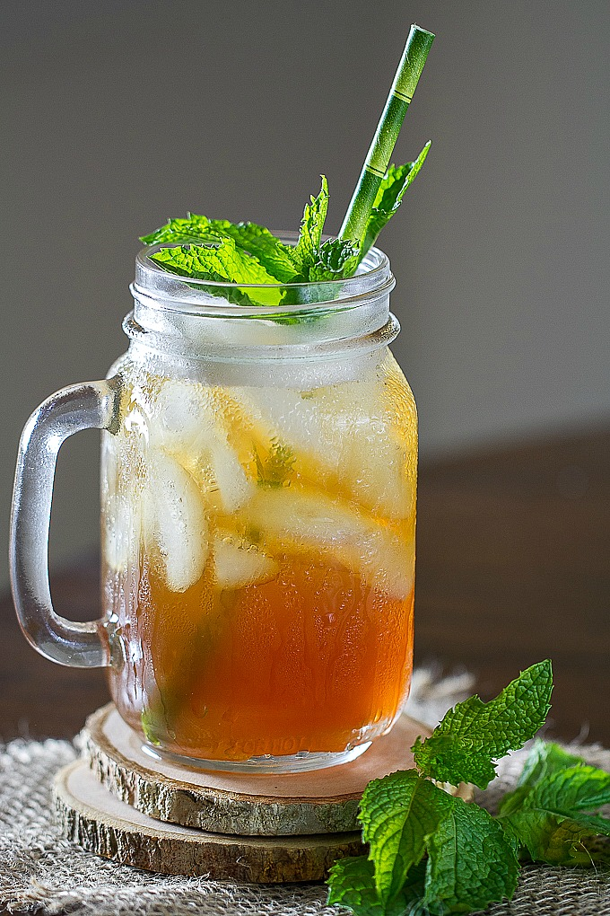Bourbon Ice Tea with Honey/Mint or Maple/Mint simple syrup