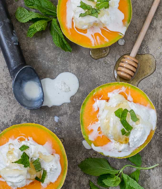 Cantaloupe with Ice Cream, Drizzled Honey & Mint